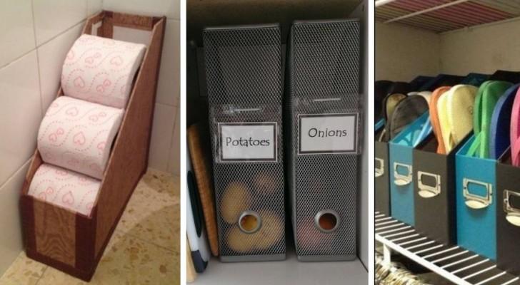 13 trovate intelligenti per far ordine in casa usando i porta-documenti da ufficio