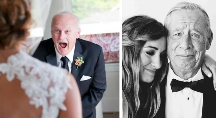 12 foto commoventi di padri che non riescono a contenere l'emozione nel vedere la propria figlia sposarsi