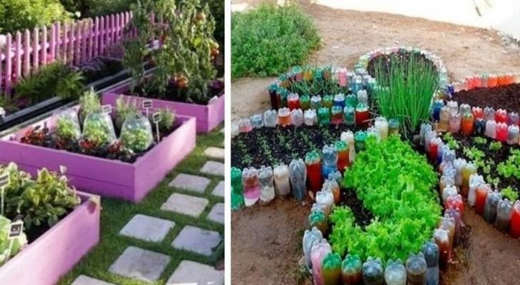 10 brillante Ideen, um Ihren Garten so farbenfroh und blumig  zu gestalten, unter Verwendung recycelter Materialien
