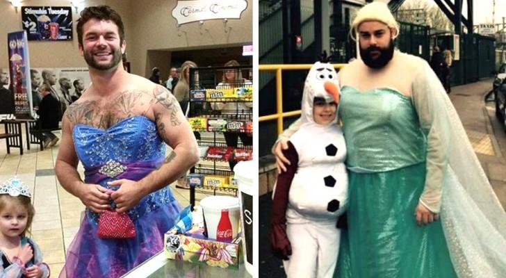 Esses pais fariam qualquer coisa por seus filhos, até mesmo se vestir como uma princesa: 17 fotos mostram o lado sensível deles