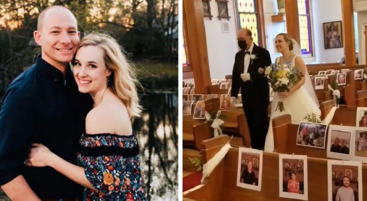 Si sposano nonostante il Covid-19 e stampano le foto degli invitati che non possono essere presenti alla cerimonia