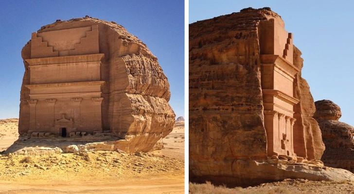 Qasr al-Farid, l'antichissima tomba scavata nella roccia che appare nel bel mezzo del deserto