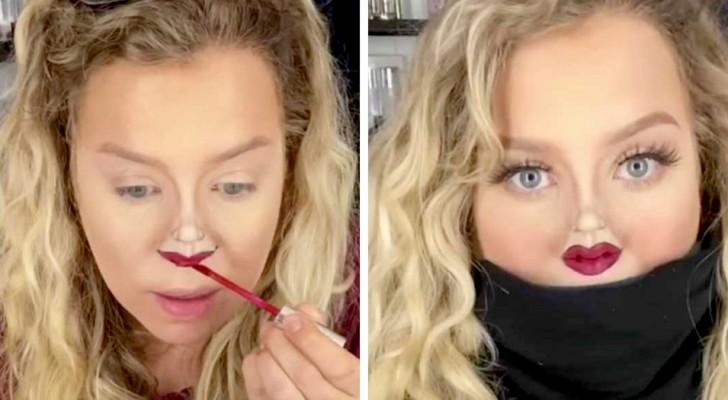 Una ragazza crea delle piccole labbra sul naso grazie ad un tutorial di makeup perfetto per questa quarantena