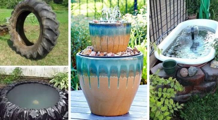 11 soluzioni fai-da-te per realizzare giardini acquatici e fontane in giardino o sul balcone