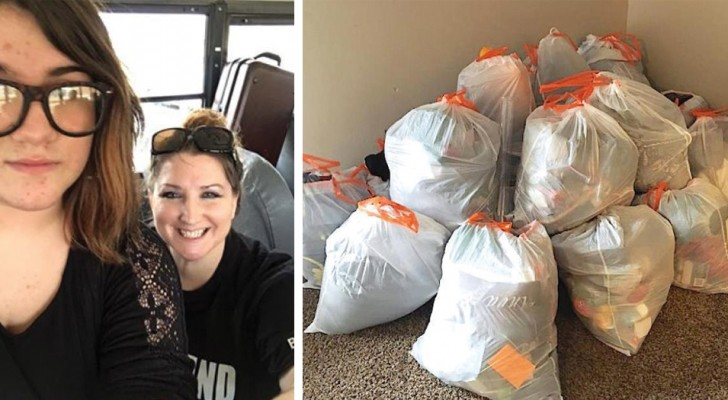 The who daughter kept leaving her room in a mess: her mother cleans up by putting everything into garbage bags