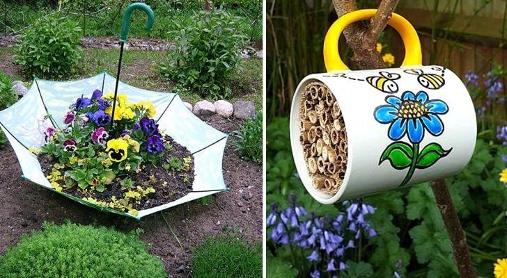 13 brillante Ideen zur Wiederverwendung alter Gegenstände im Garten: originelle und kostenlose Dekorationen