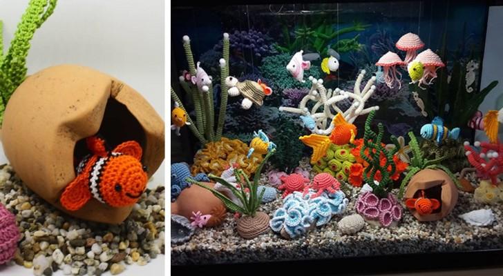 Un'artista italiana ha ricreato all'uncinetto un acquario coloratissimo e dettagliato che sembra quasi reale
