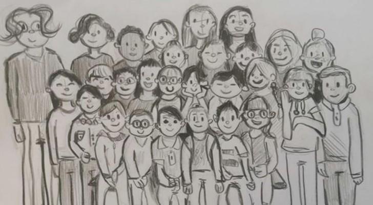 A casa in quarantena, un bambino ha nostalgia della scuola e disegna i suoi compagni di classe in posa per una foto