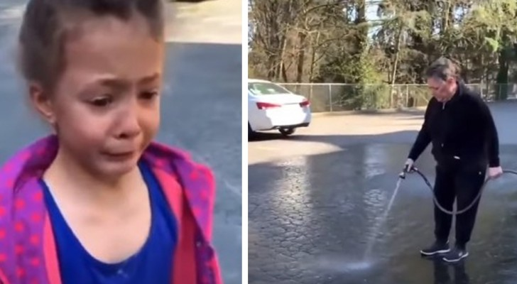 Une petite fille dessine dans la rue à la craie : la voisine agacée sort avec un tuyau et efface tout
