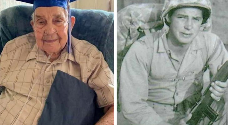 Aos 95 anos, ele finalmente se formou: teve que abandonar seus estudos para lutar na Segunda Guerra Mundial