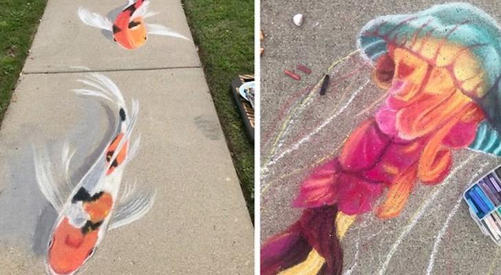 Mamma e figlia realizzano sbalorditivi disegni con gessetti colorati sui vialetti e i marciapiedi della loro città