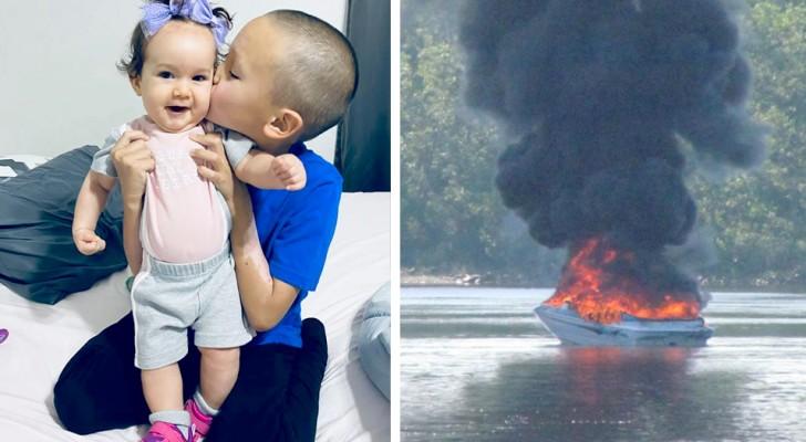 Siebenjähriger rettet seinen kleinen Cousinen nach einer Bootsexplosion das Leben