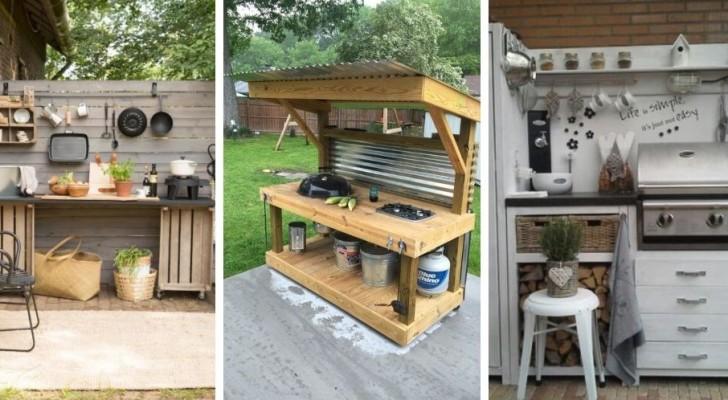 13 affascinanti progetti fai-da-te per allestire cucine da giardino costruite con legno di recupero