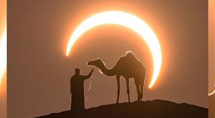 Während einer Sonnenfinsternis gelingt es einem Fotografen, die