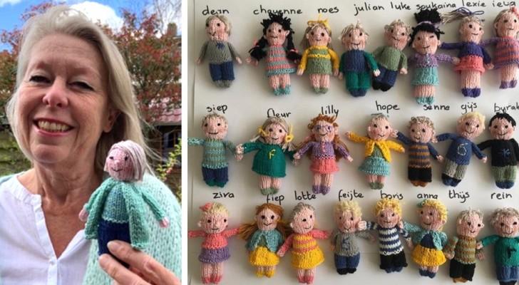 Tijdens de pandemie breit een lerares 23 schattige poppen die haar leerlingen vertegenwoordigen