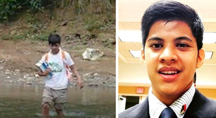 This impoverished boy had to cross a river to go to school every day: today he studies at Harvard