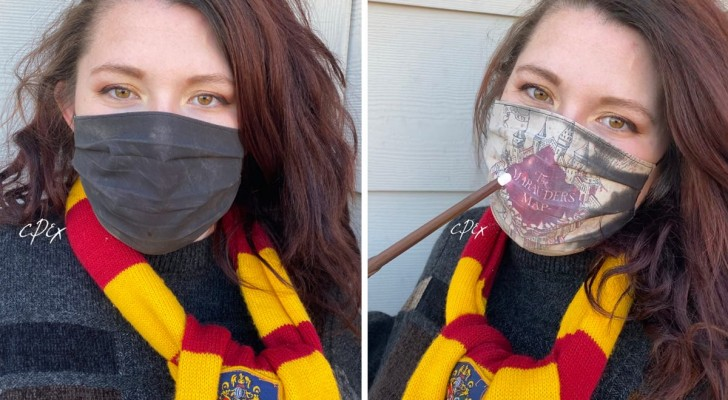 Quest'artista ha creato una mascherina magica a tema Harry Potter: indossandola appare la mappa di Hogwarts