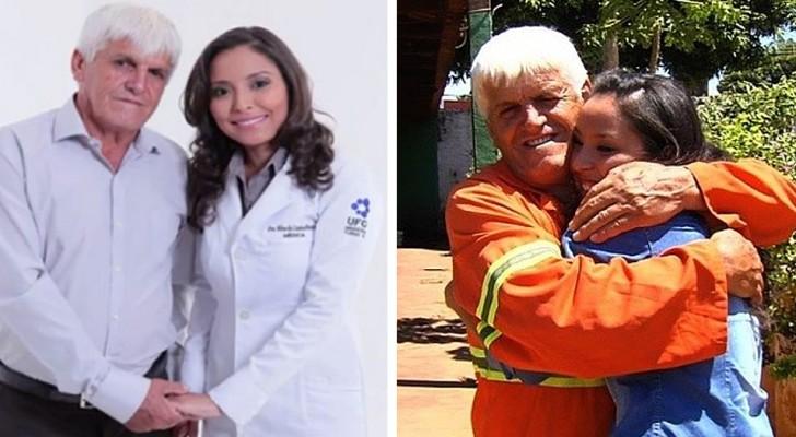 Un éboueur veuf pleure de joie lorsque sa fille obtient son diplôme de médecine et le remercie pour ses sacrifices