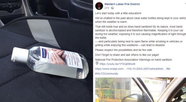 Un distretto di pompieri suggerisce di non lasciare in auto sotto il sole le bottigliette di gel disinfettante