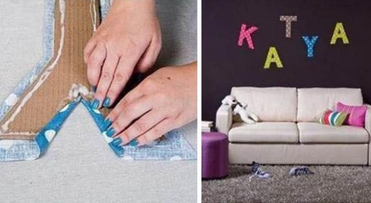 Il metodo facilissimo per realizzare decorazioni di cartone a forma di lettere riciclando scampoli di stoffa