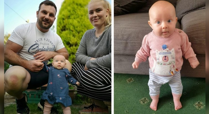The 9-week-old baby who manages to stand alone: she is the strongest child in the world