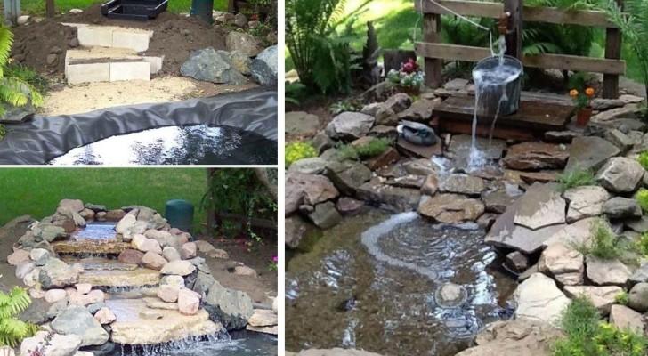8 proposte incantevoli per realizzare delle fontane a cascata fai-da-te in giardino