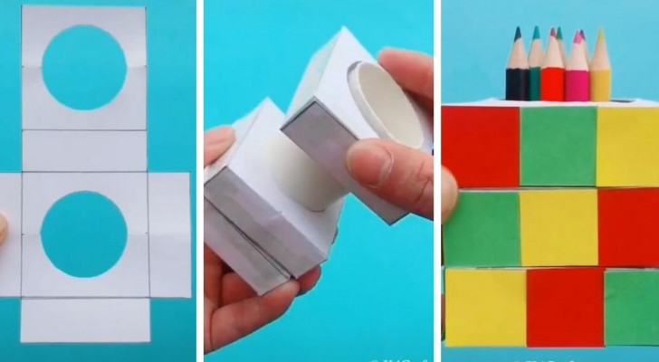 Il procedimento creativo e ingegnoso per realizzare un portapenne di carta a forma di cubo di Rubik