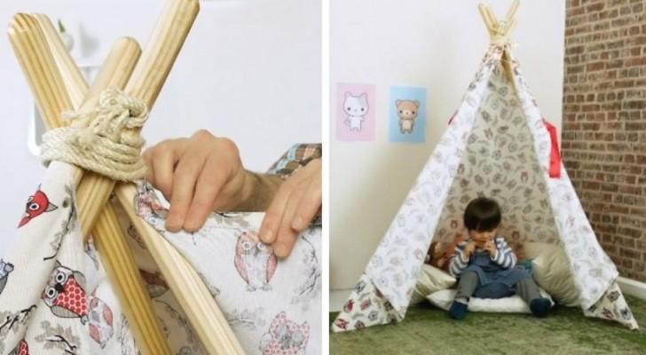 Il tutorial semplice e divertente per costruire una tenda indiana ideale per la cameretta dei bambini