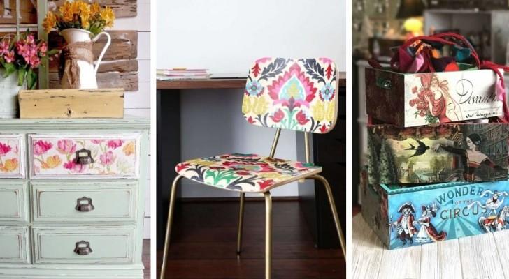 17 idee di decoupage una più bella dell'altra per decorare oggetti e ambienti di casa