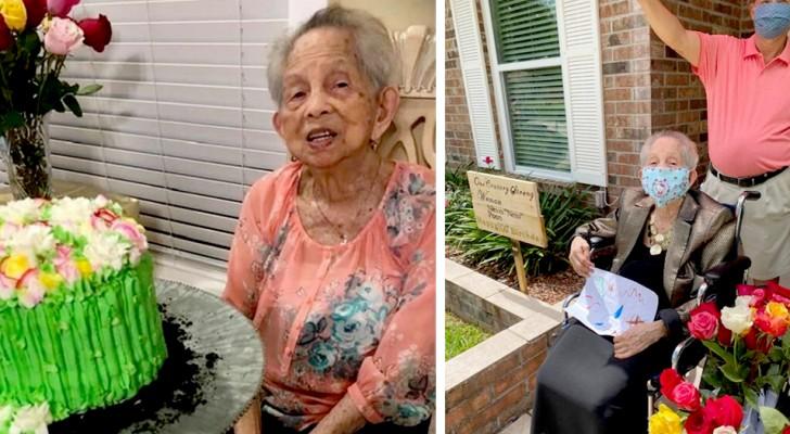 Une grand-mère en quarantaine reçoit 100 roses pour son 100e anniversaire de la part de tous les membres de sa famille
