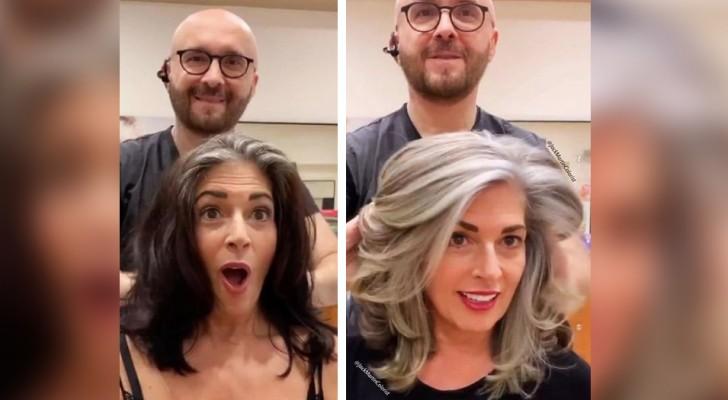 Au lieu de dissimuler la repousse, ce coiffeur invite ses clientes à montrer fièrement leurs cheveux gris