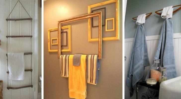 8 modi creativi per arredare il bagno realizzando porta-asciugamani da vecchi oggetti riciclati