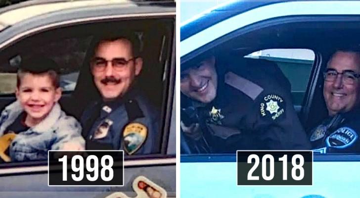 Vater und Sohn stellen Foto von vor 20 Jahren nach: Die Jahre vergehen, aber die Zuneigung nicht