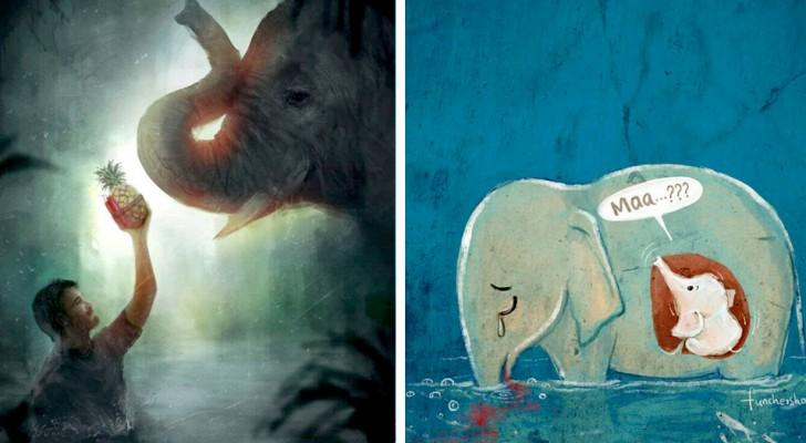 Gli artisti di tutto il mondo omaggiano l'elefantessa incinta uccisa dopo aver mangiato un ananas farcito di petardi