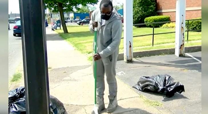 En kille gjorde rent gatorna i sitt kvarter i 10 timmar i sträck och belönas med en bil och ett stipendium