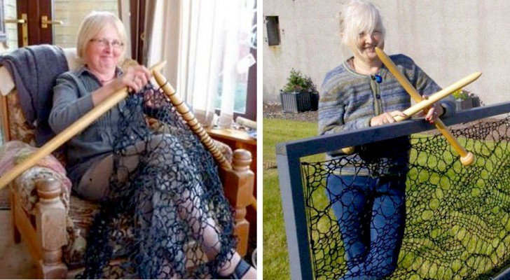 An English Seamstress made her yard's fence out of lace and fishnet