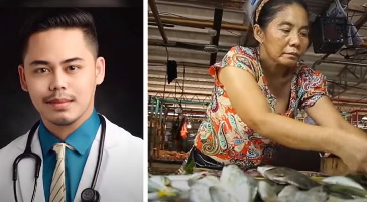 Esta mamá trabajó en el mercado de pescados por 12 horas al día para que su hijo estudie: ahora es médico