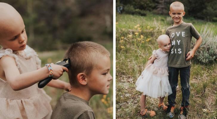 Bruder beschließt, sich die Haare abzurasieren, um die kleine Schwester im Kampf gegen den Krebs zu unterstützen