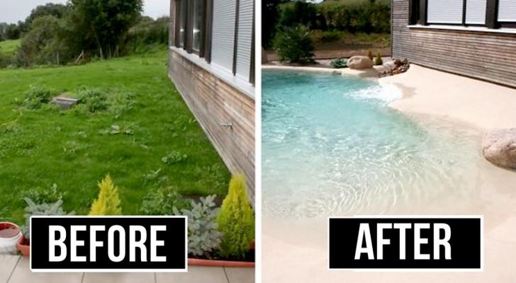 Een bedrijf realiseert zwembaden met echte zandstranden: de perfecte oplossing om een vakantie thuis door te brengen
