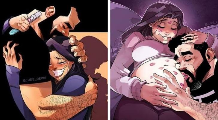 Lorsqu'un couple attend un enfant, rien n'est plus comme avant : ces dessins le racontent de façon charmante