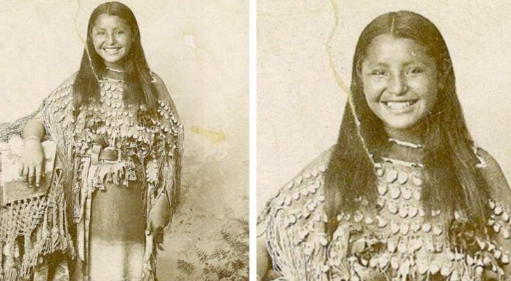 Questa fotografia del 1894 ritrae una nativa americana con un bellissimo sorriso: una rarità per le foto dell'epoca