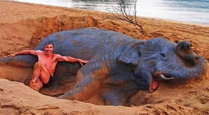 Die Sand-Skulpturen dieses Mannes sind so realistisch, dass sie lebendig scheinen
