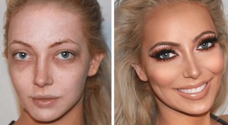This makeup artist manages to transform women's faces with eyeshadow and brush
