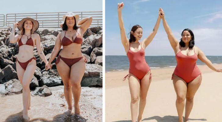 2 amiche con un fisico diverso si fotografano con lo stesso bikini e provano che la bellezza non conosce misure