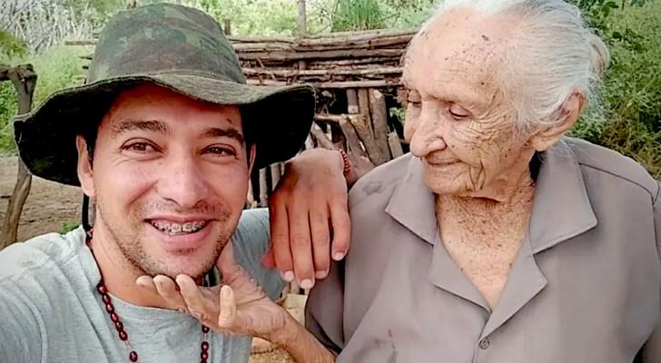 Deze jongen gaf twee banen op om fulltime voor zijn 105-jarige grootmoeder te zorgen