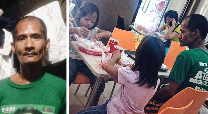 Un padre en dificultad ordena comida para las hijas sin comer nada: no tiene suficiente dinero