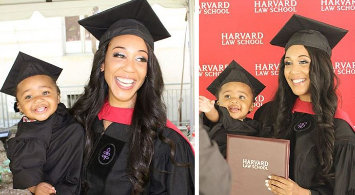 Een alleenstaande moeder studeerde af aan Harvard met haar dochter in haar armen, waardoor ze beledigingen en vooroordelen overwon