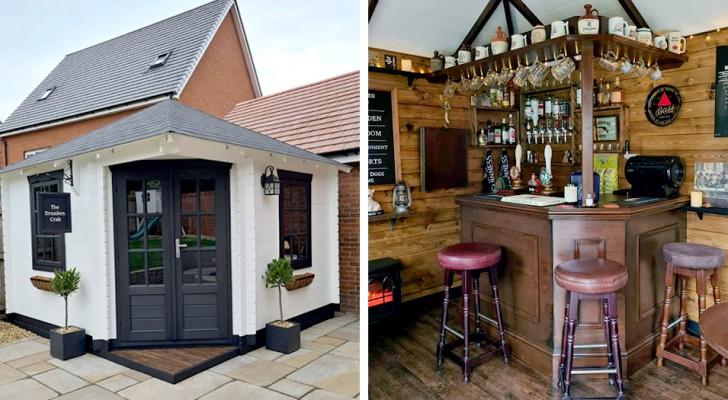 Una coppia di arredatori costruisce un pub all'interno di un giardino privato in sole tre settimane