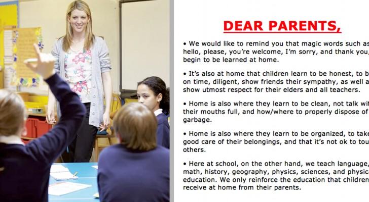 Queridos padres, es en casa donde los niños aprenden a decir hola y gracias: el cartel de esta escuela hace discutir a los padres
