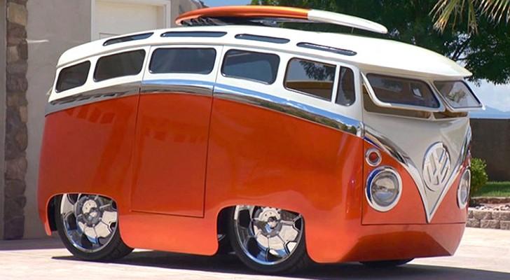 Ein Mann verwandelt den mythischen Volkswagen-Van in ein Fahrzeug, das aussieht wie etwas aus einem Cartoon
